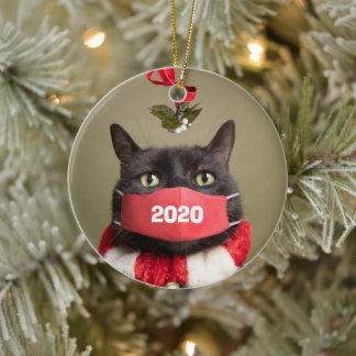 Merry Christmas 2020 Cat in Covid Face Mask Ceramic Ornament