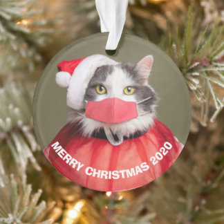 Merry Christmas 2020 Cat in Santa Hat Face Mask Ornament