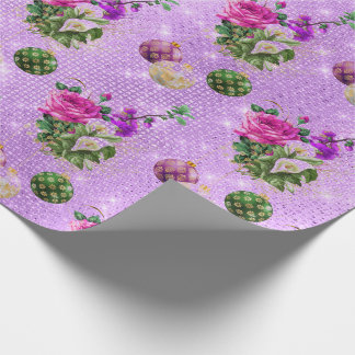 Merry Christmas Baubles Rose Gold Pink Purple Wrapping Paper
