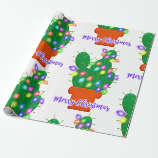 merry christmas cactus wrapping paper