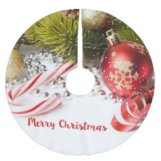 Merry Christmas- Colorful Decoration Brushed Polyester Tree Skirt