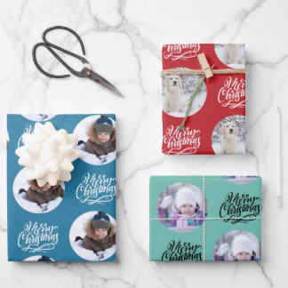 Merry Christmas Custom Photo Set of 3 Wrapping Paper Sheets