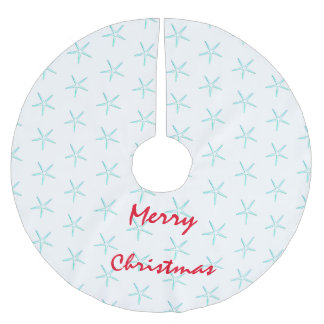 Merry Christmas Cute Teal Starfish Patterns Beach Brushed Polyester Tree Skirt