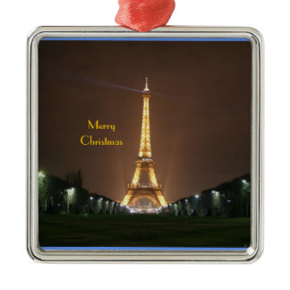 Merry Christmas - Eiffel Tower at night Metal Ornament