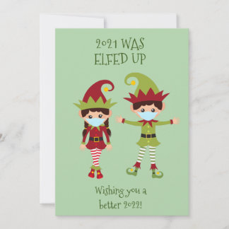 Merry Christmas Elfed Up Funny Face Mask 2021 Holiday Card