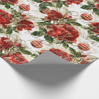 Merry Christmas Glitter Baubles  Gold Red Roses Wrapping Paper