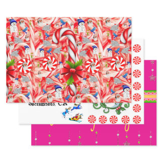 Merry Christmas Peppermint Santa  Wrapping Paper Sheets