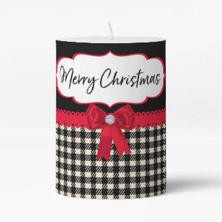 Merry Christmas Red Bow Ribbon Holiday Pillar Candle