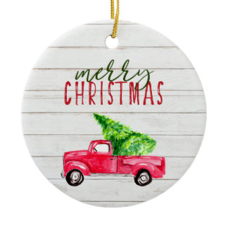 Merry Christmas Rustic Red Vintage Truck Tree Ceramic Ornament