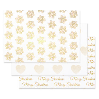 Merry Christmas Snowflake Gold Foil Wrapping Paper Sheets