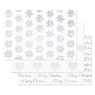 Merry Christmas Snowflake Silver Foil Wrapping Paper Sheets