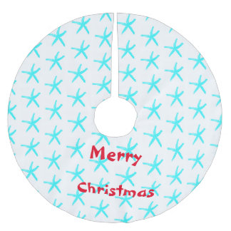 Merry Christmas Starfish Patterns Teal White Beach Brushed Polyester Tree Skirt