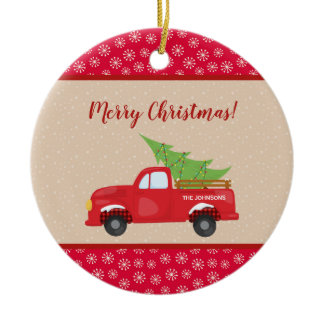 Merry Christmas with Truck and Tree, Family Name Ceramic Ornament