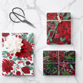 Merry Red Poinsettia Flowers Ivy Leaves Watercolor Wrapping Paper Sheets