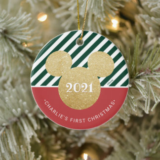 Mickey Mouse | My First Christmas - Red and Green Ceramic Ornament