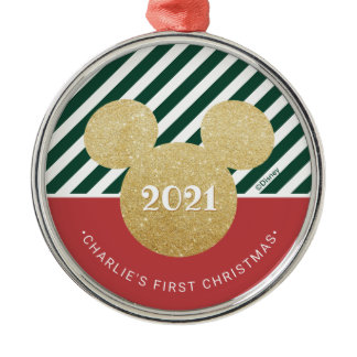 Mickey Mouse | My First Christmas - Red and Green Metal Ornament