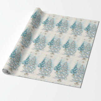 Mid Century Modern Blue Silver Christmas Trees Wrapping Paper
