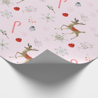 Mid Century Modern | chickadee and cute stag   Wrapping Paper