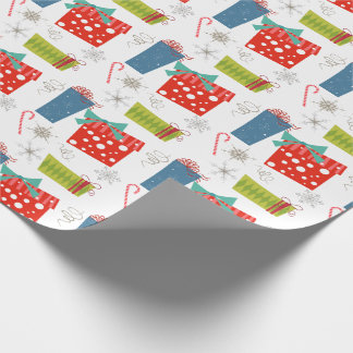 Mid Century Modern Christmas Present & Candy Cane  Wrapping Paper