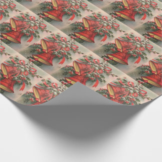 Mid Century Modern Red Christmas Bells Holly Snow Wrapping Paper