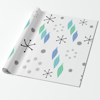 Mid Century Modern Winter Green Wrapping Paper