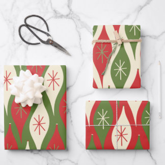 Mid-Century Retro Atomic Xmas Ornament Patterns Wrapping Paper Sheets