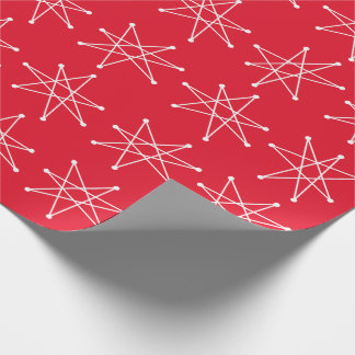 Midcentury Modern Atomic Christmas Star MCM Red Wrapping Paper
