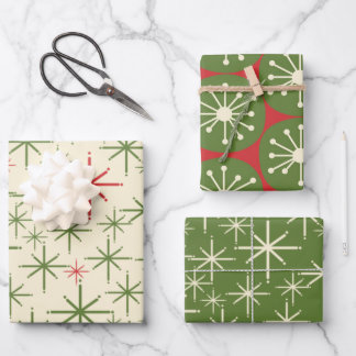 Midcentury Modern Retro Christmas Patterns Wrapping Paper Sheets