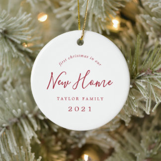 Minimal Red First Christmas In Our New Home Photo Ceramic Ornament