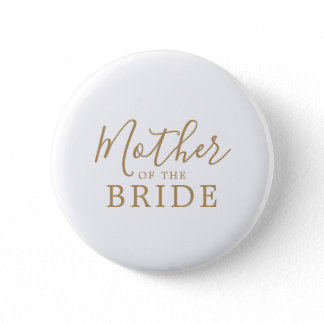 Minimalist Gold Mother of the Bride Bridal Shower Button