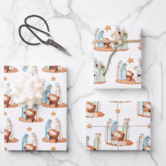 Minimalist Nativity Scenes Patterns Christmas Wrapping Paper Sheets