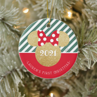 Minnie Mouse | My First Christmas - Red and Green Ceramic Ornament
