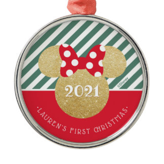 Minnie Mouse | My First Christmas - Red and Green Metal Ornament