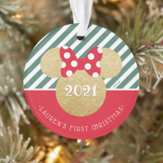 Minnie Mouse | My First Christmas - Red and Green Ornament