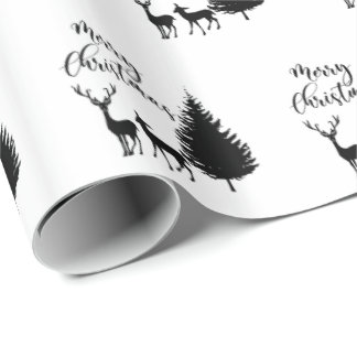 """Modern Black Script """"Merry Christmas"""" and Deers Wrapping Paper"""