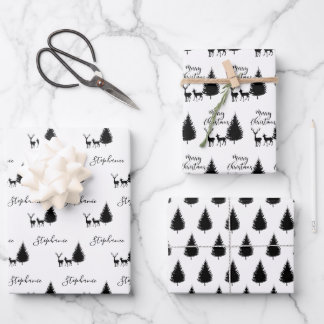 """Modern Black Script """"Merry Christmas"""" and Deers Wrapping Paper Sheets"""