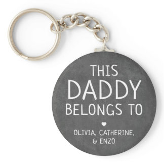 Modern Black This Daddy Belongs To Father's Day Keychain