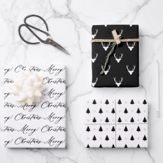 Modern Black & White Christmas Trees & Reindeer Wrapping Paper Sheets