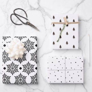 Modern Black & White Snowflakes & Christmas Trees Wrapping Paper Sheets