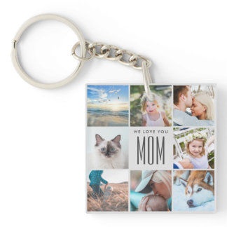 Modern Chic Mother's Day Mom Family Photo Collage Keychain