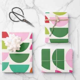 Modern Christmas Colorful Geometric Shapes Wrapping Paper Sheets