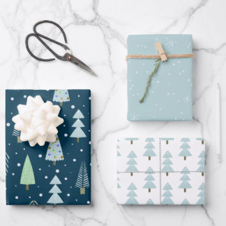 Modern Christmas Forest Trees Blue Green Wrapping Paper Sheets