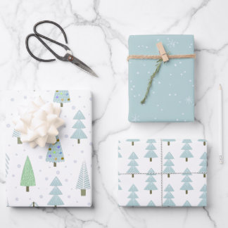 Modern Christmas Trees Blue Green Pattern Trio Wrapping Paper Sheets