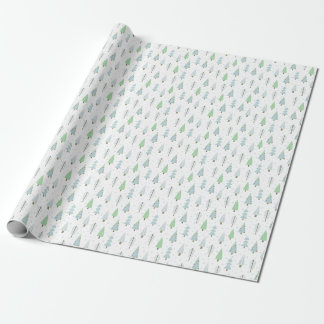 Modern Christmas Trees Blue Green Pattern Wrapping Paper