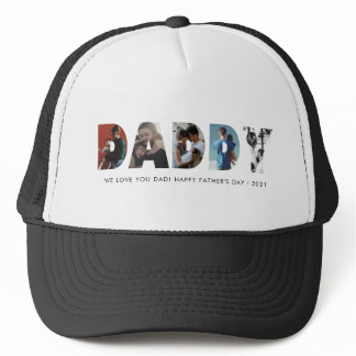 Modern DADDY Chic Photo Collage Happy Father's Day Trucker Hat