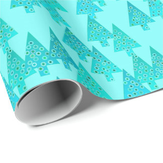 Modern flower Christmas trees - aqua & peacock Wrapping Paper