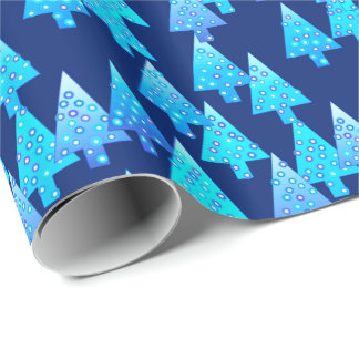 Modern flower Christmas trees - cobalt blue Wrapping Paper