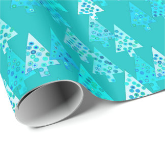 Modern flower Christmas trees - turquoise Wrapping Paper