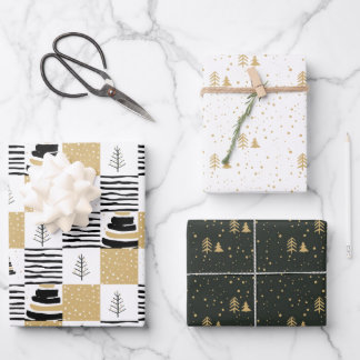 Modern geometric black white gold Christmas tree Wrapping Paper Sheets