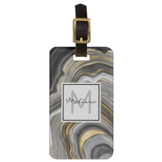 Modern Gold & Gray Agate Geode Mineral Monogram Luggage Tag